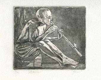 "engraving ""JESTER"" /fou King/Jester/court jester/minstrel/printmaking/print art, etching, jokes, magic tricks/Narrator/print art"