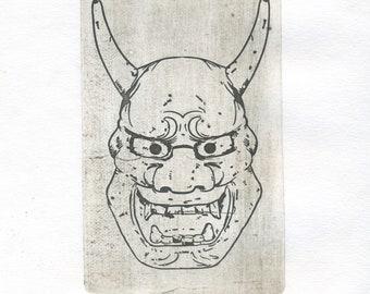 """Original etching """"Japanese Mask"""""""