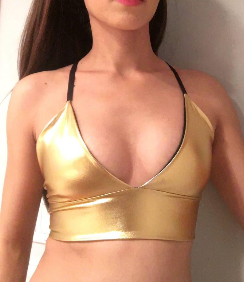 da8c1f0cf0 Gold Bralette   Burning Man Bralette Gold Rave Top   Dancewear