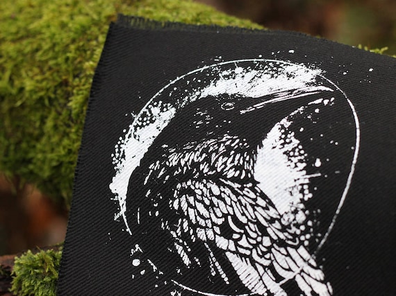 handprinted cotton tote crow raven occult