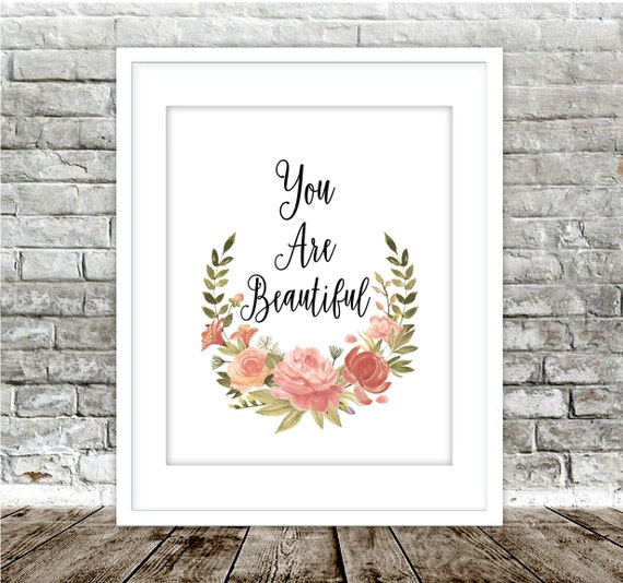 YOU ARE BEAUTIFUL Modern Home Decor Feminine Wall Art | Etsy