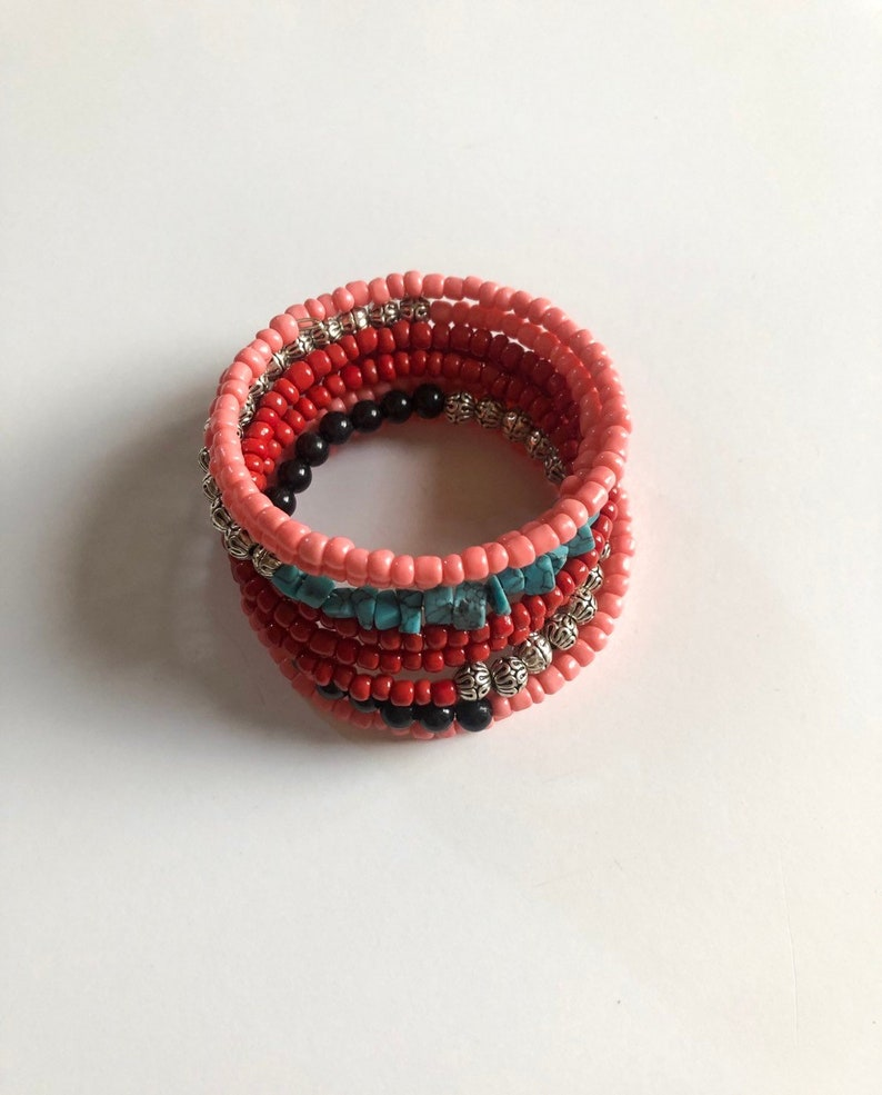 coral and read seed beads Mother/'s Day gift for her turquoise chips Color block memory wire bracelet silver accent spacers memory wire