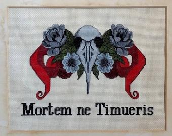 Fear Not Death Cross Stitch Pattern, Dungeons and Dragons Cross Stitch Patterns, RPG Cross Stitch, Modern Cross Stitch, Bird Skull Art