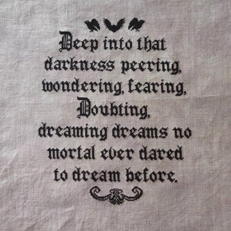 Macabre cross stitch Gothic Cross Stitch Edgar Allan Poe Cross Stitch Into That Darkness PDF Cross Stitch Pattern