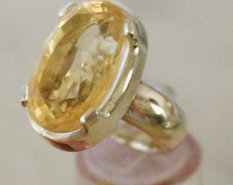 Sterling Silver. Citrine. Bold and Beautiful Sterling Silver with 20x12 MM Citrine Ring. Size 7