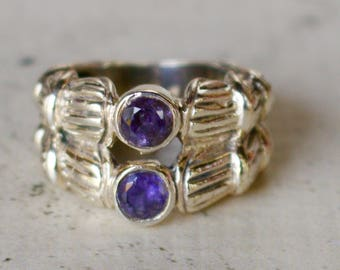 Silver. Iolite. Beautiful Silver and Iolite Ring. Size 6