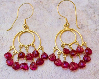 18k Solid Gold With Genuine Pink Tourmaline Earrings.