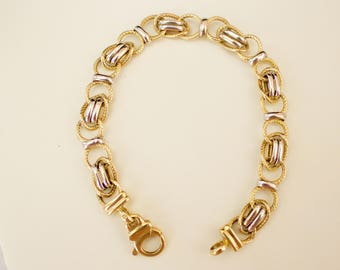 Gold. Elegant 14k Solid Two Tone Gold Bracelet. Size 7.5 Inches.
