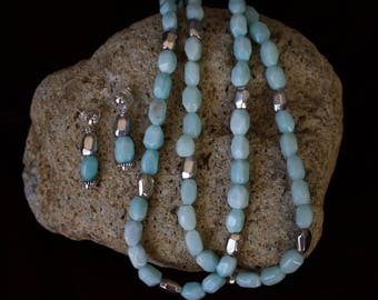 Aqua Amazonite Nuggets with Tibetan Silver Beads Necklace with Matching Earrings.