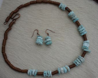 Untreated Turquoise Rough with Coiled Copper Necklace and Matching Earrings.