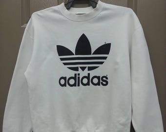 Vintage Adidas Trefoil Big Logo Spell Out White Colour Sweatshirt Casual Adult Unisex Wear (B12)