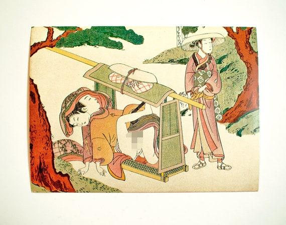 Vintage Postcard Suzuki Harunobu Japanese Art Erotic Art Etsy