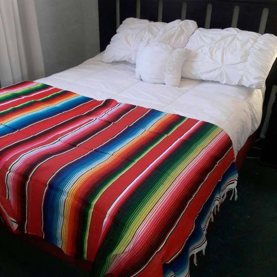 Serape Blanketbed Shawlscaldinobed Runner End Bed Throw Etsy Magnificent End Of Bed Throw Blanket