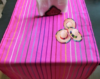 Mexican tablecloth, Table runner, Mexican party tablecloth, fuchsia tablecloth,cambaya tablecloth Mexican decor, ethnic,soho.fiesta,native