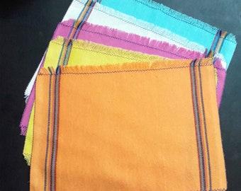 Rustic placemat set,Mexican jerga,cloth placemats, motorhome,beach,picnic,ethnic,native,yellow,blue,orange,green,white,artisan