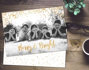 """Gold Christmas Photo Card Template: Holiday Family Card 5x7"""" Photoshop template, INSTANT DOWNLOAD custom printable """"Faux Gold Foil Sparkles"""""""