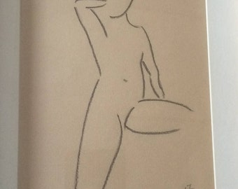 Nude drawing in charcoal No. 69, original, gift, nude drawing art, charcoal drawing