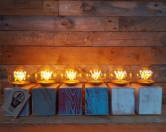 Wood block table lamp / light. copper led filament bulb. hand made. industrial. rustic. reclaimed timber. upcycled
