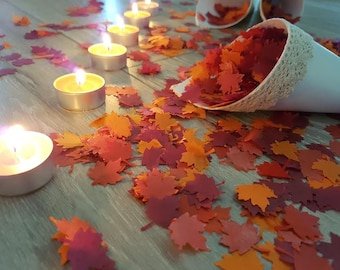 Biodegradable Maple leaf confetti variation Wedding Birthday and more Throwing and table decor Orange- Burgundy- Red