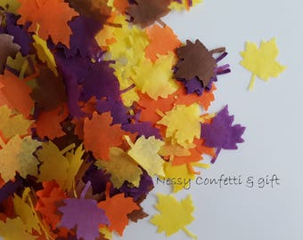 Autumn maple Leaf Tissue paper Confetti Natural Eco Leaves for Throwing -Wedding an more decor Orange/Yellow/ Brown/ Purple