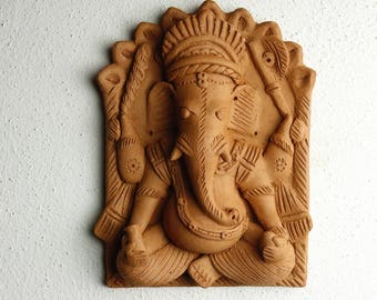 Vintage Ganesh Terracotta earthware hanging tile Ganesh Wall art decoration Ethnic from the 80's