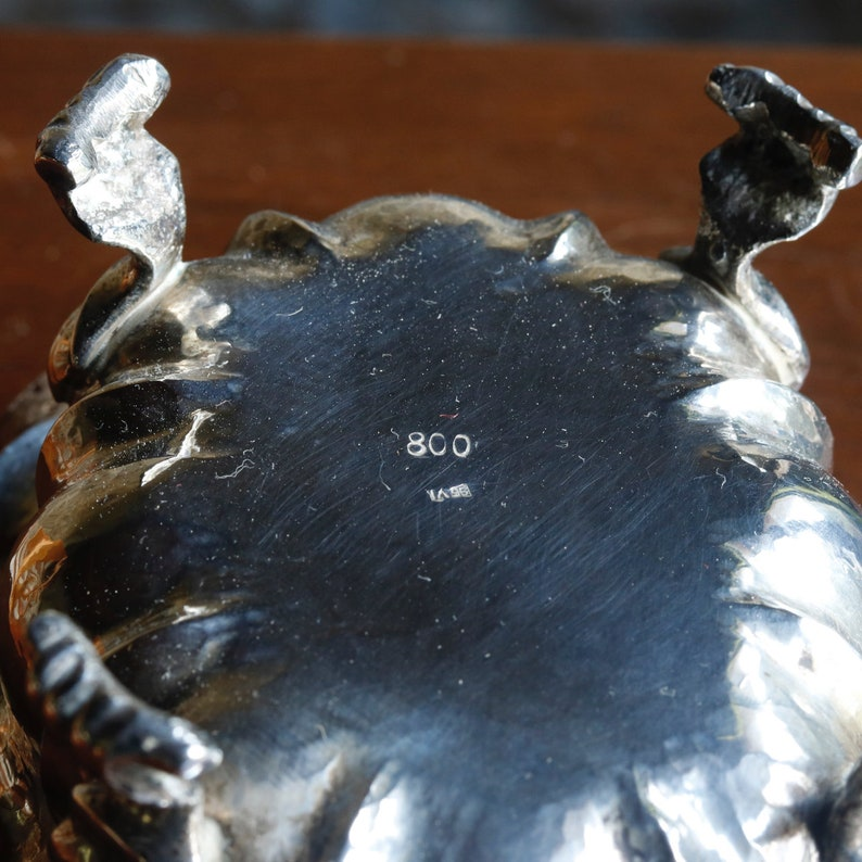 Vintage Italian Silver 800 4 footed sugar bowl from the 50s