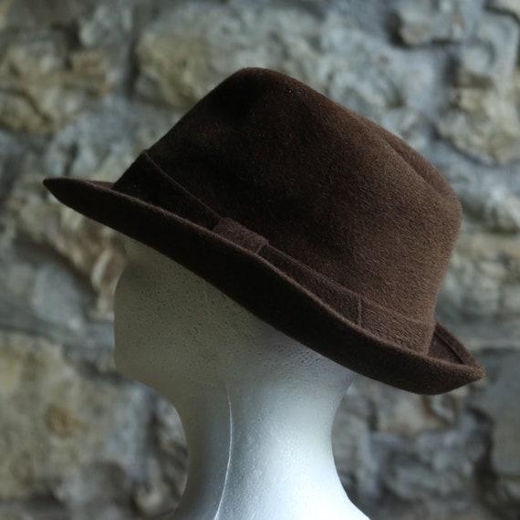 Vintage Original Italian Borsalino Fedora Wool Br… - image 3
