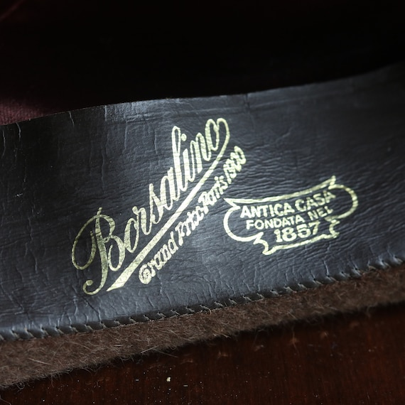 Vintage Original Italian Borsalino Fedora Wool Br… - image 5