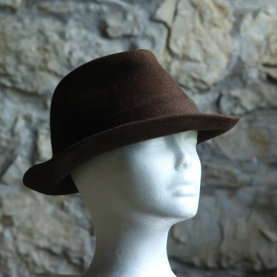 Vintage Original Italian Borsalino Fedora Wool Br… - image 8