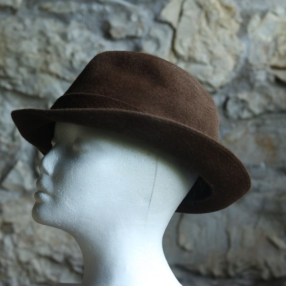 Vintage Original Italian Borsalino Fedora Wool Br… - image 2