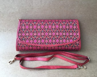 Handmade silk clutch with leather CL001