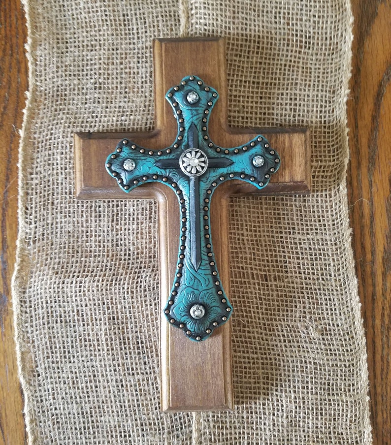 Turquoise Cross Wooden Cross Crosses Rustic Cross Wall Hanging Wall Art Wall Decor Country Decor