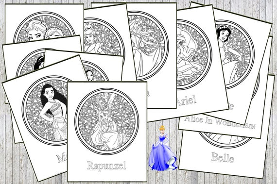 Disney Princess Printable Relaxing Child Teen Adult Colouring Etsy