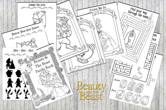 Belleza y el bestia Belle 10 página imprimible Puzzle Quiz | Etsy