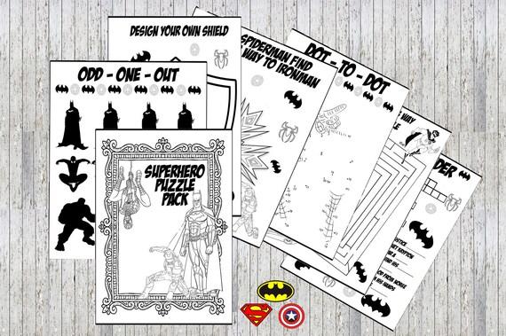 Superhéroes Vengadores para imprimir Puzzle Quiz colorear | Etsy