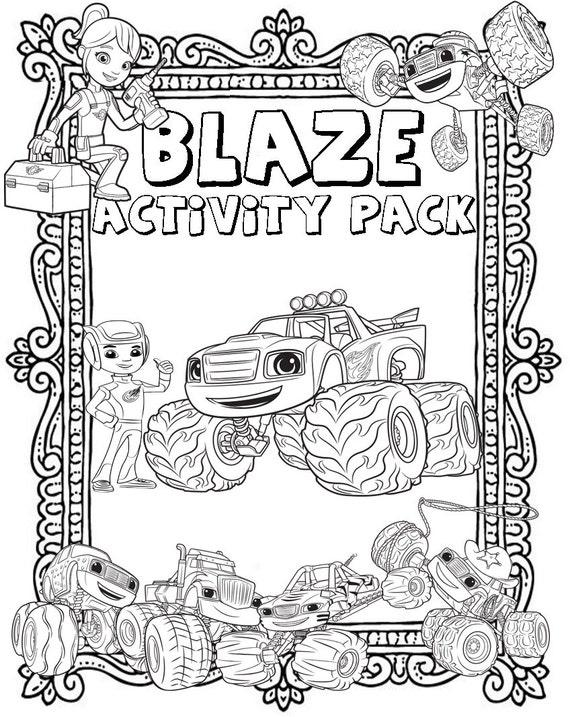 Blaze E Le Micro Macchine Stampabili Puzzle Quiz Libro Da Etsy