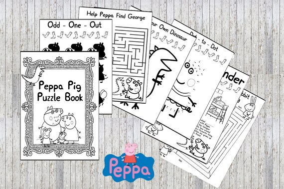 Peppa Pig para imprimir Puzzle Quiz colorante relleno Ideal | Etsy