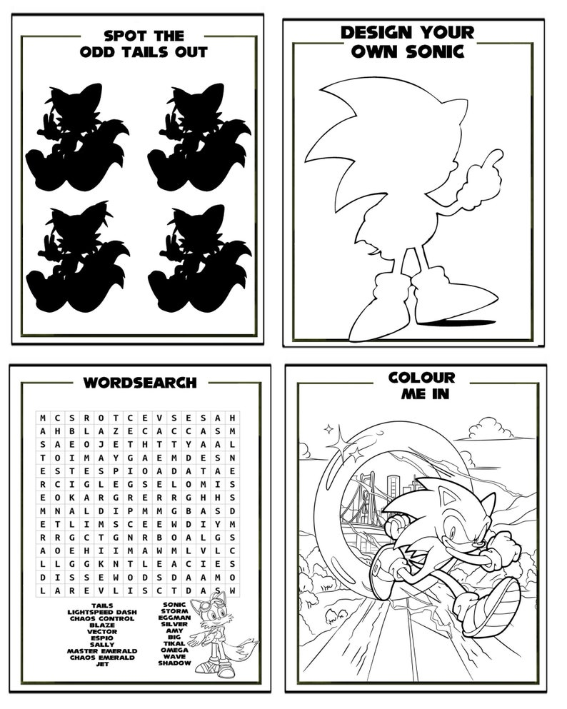 Sonic The Hedgehog Printable Puzzle Quiz Colouring Book | Etsy