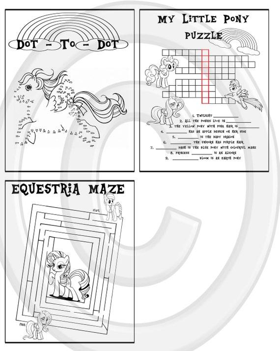 Mi pequeño Pony rompecabezas imprimible Quiz colorante   Etsy
