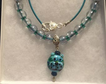 Blue leather and lampwork kitty necklace, women's leather necklace, lampwork kitty pendant