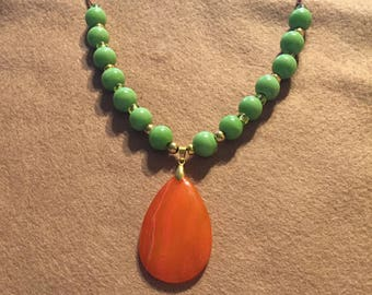 Gemstone and leather necklace, orange and green with brown leather necklace, plus size necklace