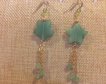 Green star earrings,aventurine star earrings,