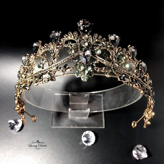 Braut Diadem Swarovski Kristall Tiara Gold Tiara Hochzeit Etsy