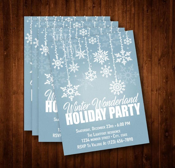 Winter Wonderland Holiday Party Invitation Winter Wonderland Etsy