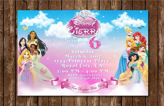 Disney Princess Birthday Invitation Invite