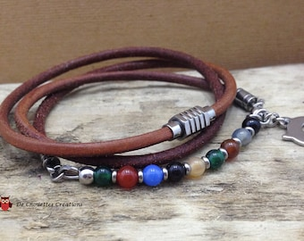 Leather strap with stainless steel beads and multicolor Agate beads