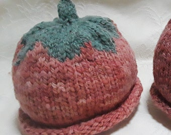Lot 45, Baby, 6-12 months, Toddler, 12-24 months. Wool veggie/fruit winter hat, rolled brim, hand-dyed, hand-knit -red/green or green
