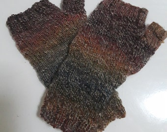 Lot 9, Handspun, hand-dyed, hand-knit fingerless mitts - Rainbow tweed, Pansy, Iris colorways