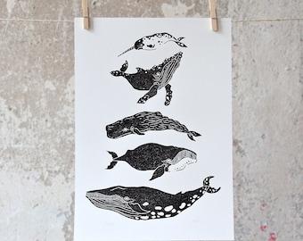 Whale | Linocut Print