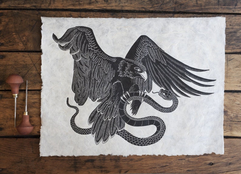 Print Art Print Print Graphics original handmade Eagle and Snake black Linocut signed Wall Decoration Lino print